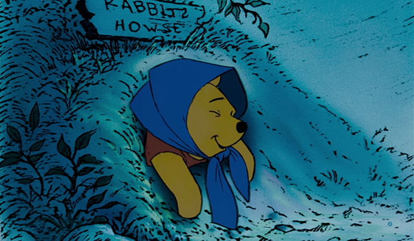 At some point, Pooh apparently decided to disguise himself as a stereotypical poor old woman...